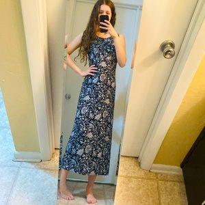 Vintage Lisa Jo Modest Blue Midi Tie Back Dress S
